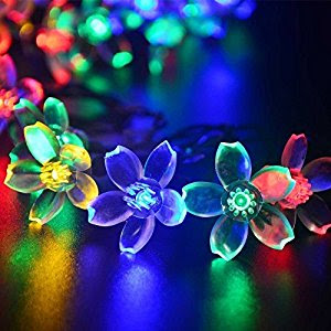 Deckey Solar Powered Christmas Lights Flower 50 LED 22ft Decorative Blossom Fairy String Light for Garden, Lawn, Patio, Xmas Tree, Holiday, Party, Indoor, Outdoor Decorations (Multi-color)