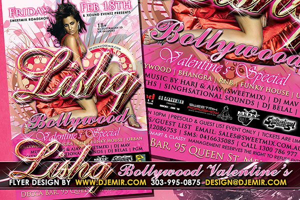 Lishq Bollywood Valentine's Day Flyer Design Australia