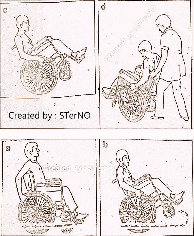 latihan kursi roda dengan manuver di kursi roda yang benar