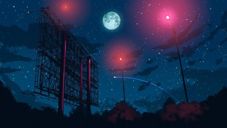Starry, Night, Sky, Moon, Stars, Anime, Scenery, 8K, #6.2218
