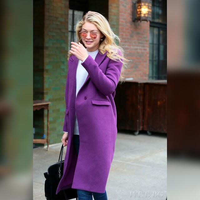Γυναικείο μωβ παλτό ARABELA