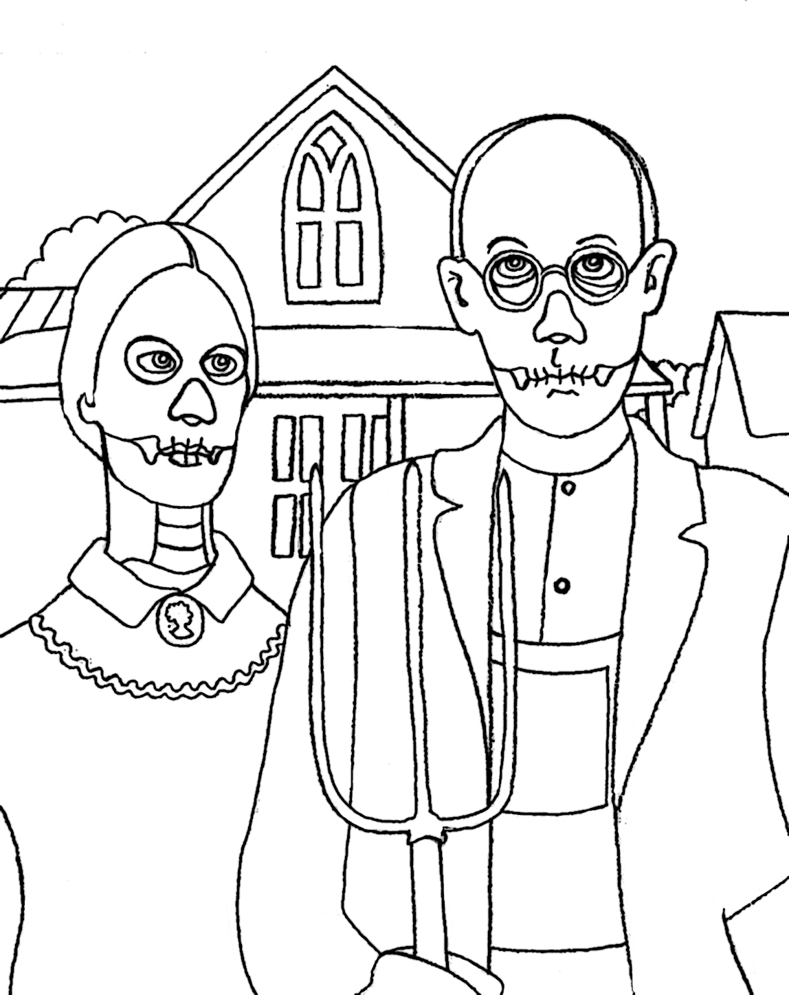 Yucca flats n m wenchkin 39 s coloring pages skeletal for American gothic coloring page