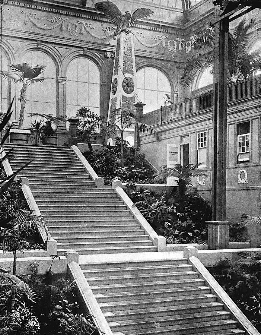 1895 decorated stairs to the baths of a club, a photograph