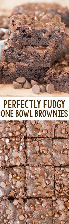 Perfectly Fudgy One Bowl Brownies