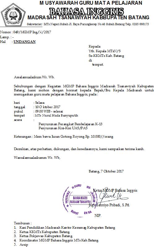 Silahkan dibaca permintaan MGMP Bahasa Inggris tanggal  UNDANGAN MGMP BAHASA INGGRIS MTs SE-KAB BATANG