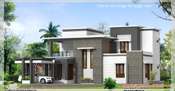 2000 Sq. Feet Contemporary Villa Plan And Elevation
