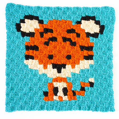 Zoodiacs Tiger C2C Crochet Graph