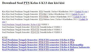 Soal PTS Kelas 6 K13 dan kisi kisi
