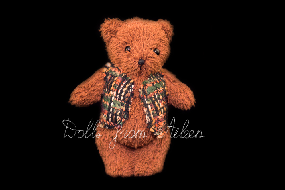 OOAK artist teddy bear wearing waistcoat