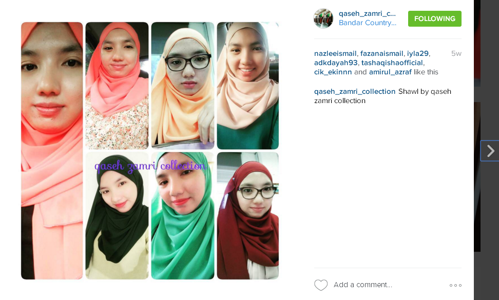 qaseh zamri collection, perkhidmatan menyewa pakaian bridesmaid, alamat