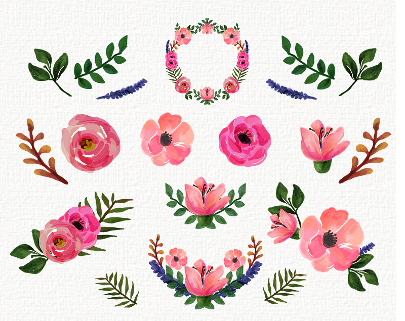 FREEBIES | Watercolor Floral clip art collection - Roses and ...