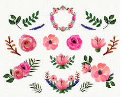 clip floral watercolor gold collection roses berry peonies wedding painting elements freebies res