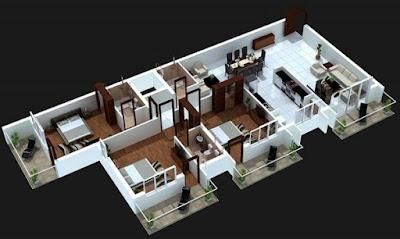 Denah rumah 3D