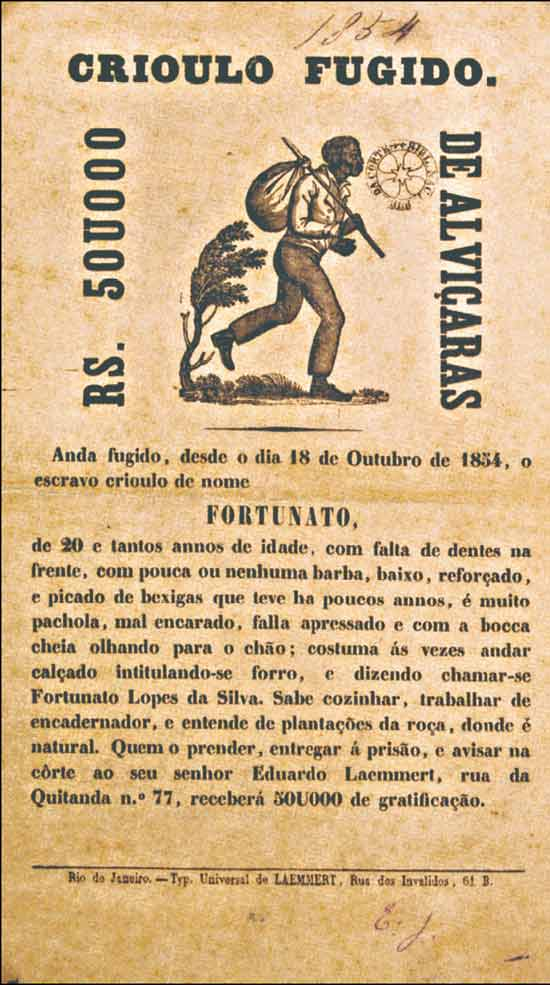 Cartaz que buscava a captura de um escravo fugido em 1854