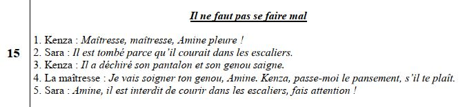 2AEP - mes apprentissages en français - expression orale: Il ne faut pas se faire mal