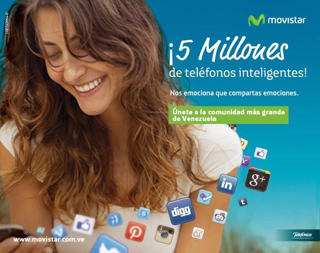 """Conectando tecnológicamente cada vez a más venezolanos en todo el territorio nacional, Movistar anuncia que ha alcanzado recientemente los 5 millones de usuarios con teléfonos inteligentes en el país, quienes cuentan con una oferta de planes y servicios adaptada a sus necesidades de comunicación. Sobre este anuncio, Adriana Di Génova, Directora de Medios, Publicidad y Comunicaciones de Telefónica Venezolana, señala: """"Tenemos un compromiso con los venezolanos y lo estamos cumpliendo, hemos crecido de forma acelerada en nuestras capacidades de red para responder al rápido crecimiento del uso de datos móviles en el país. Esto sólo es posible gracias a un"""