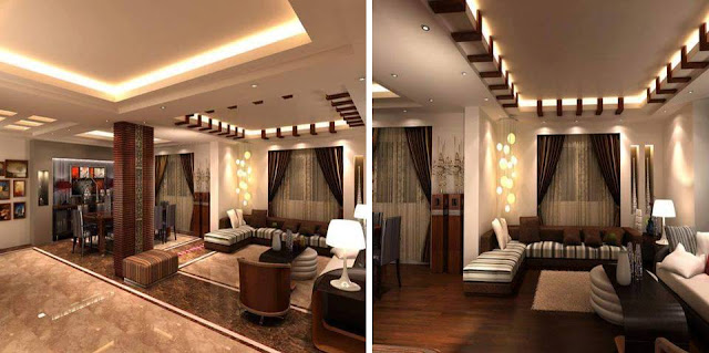 Creative living Brown room Wood Ceiling Design Idea
