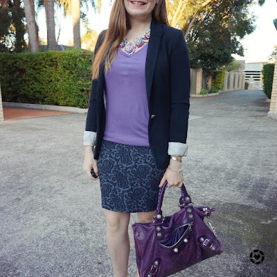 awayfromblue instagram lilac tee purple work bag jacquard pencil skirt blazer and heels