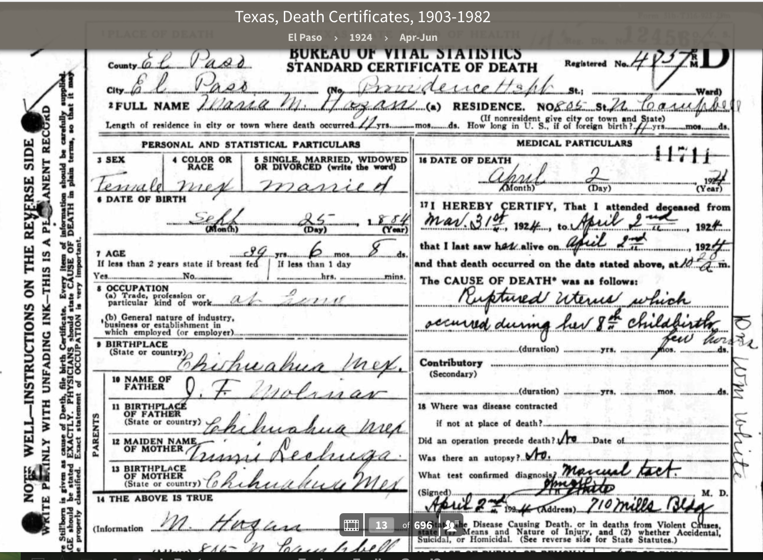 Stories and Archives : Data Pool 9: Texas Death Certificates