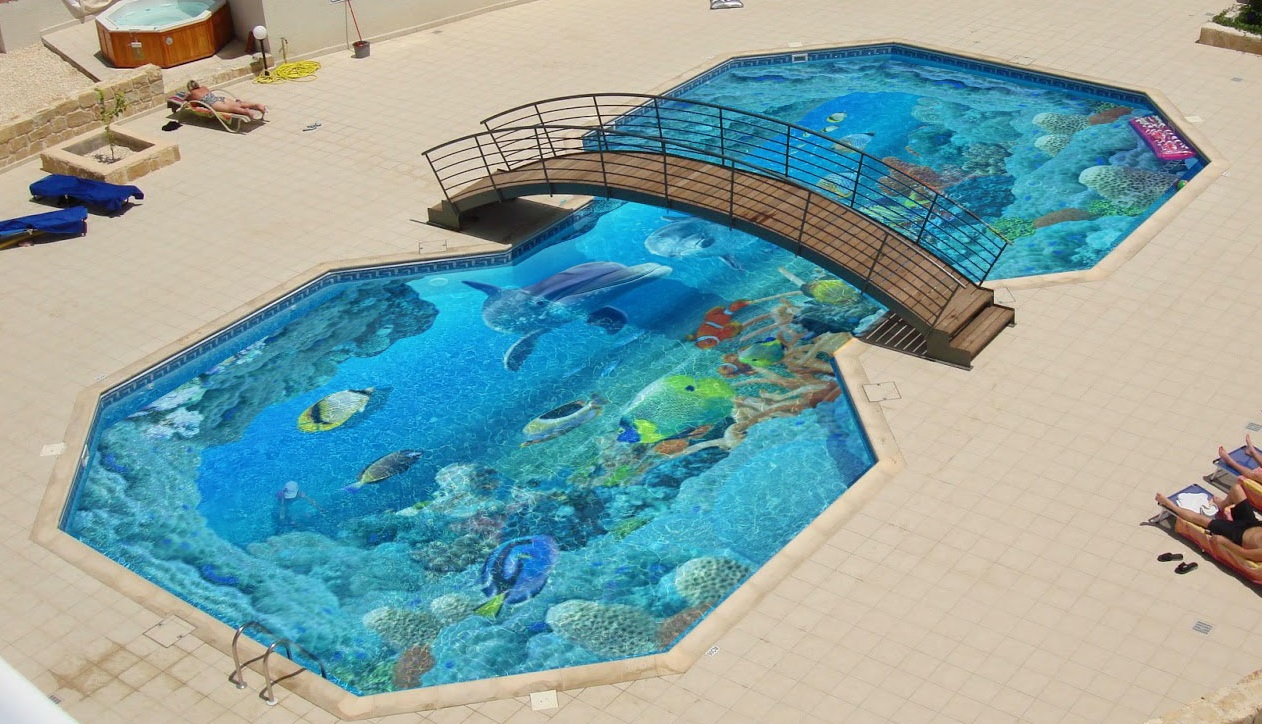 Make a 3d flooring for your swimming pool with epoxy paint for Swimming pool flooring materials