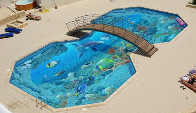 3D flooring for swimming pools
