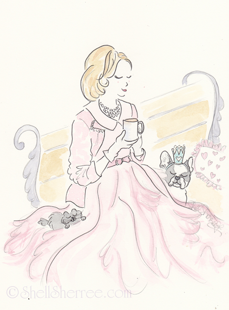 Fashion and Fluffballs illustration: Vintage Pink and Royal Frenchies © Shell-Sherree