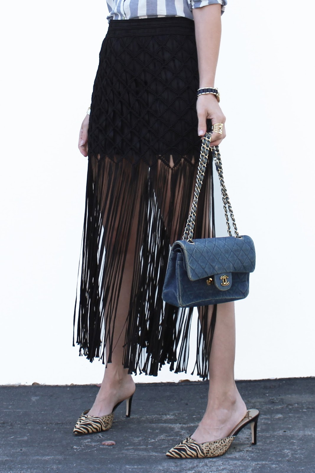 fringe skirt mules summer outfit