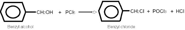 Benzyl chloride By the action of phosphorus pentachloride or thionyl chloride.