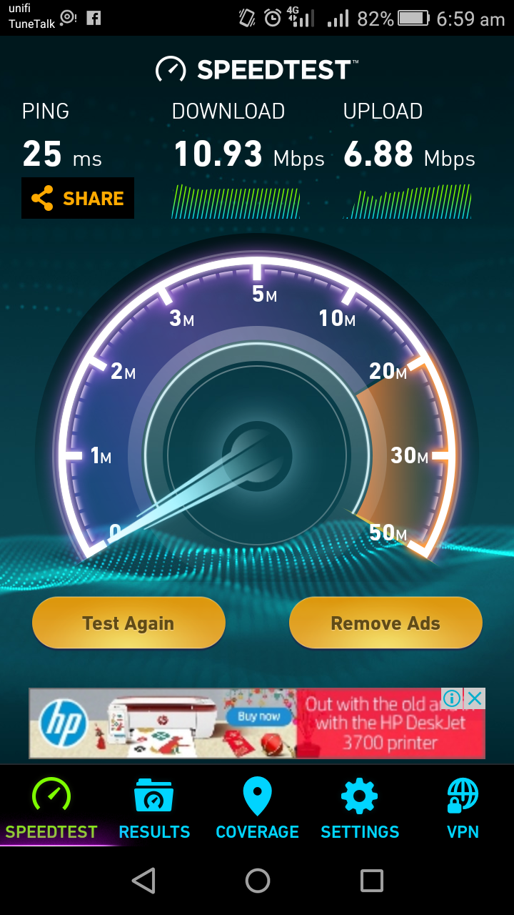speed test unifi mobile