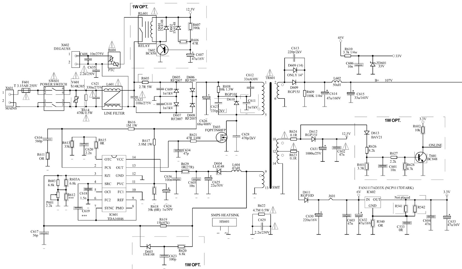 Electro Help  Tv Main Power Smps Schematic -  110v Output  - Fqpf3n60fp Mosfet
