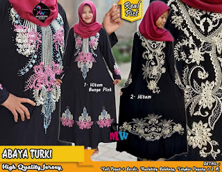 Gamis Abaya High Quality Jersey Full Payet dan Bordir Resleting Belakang