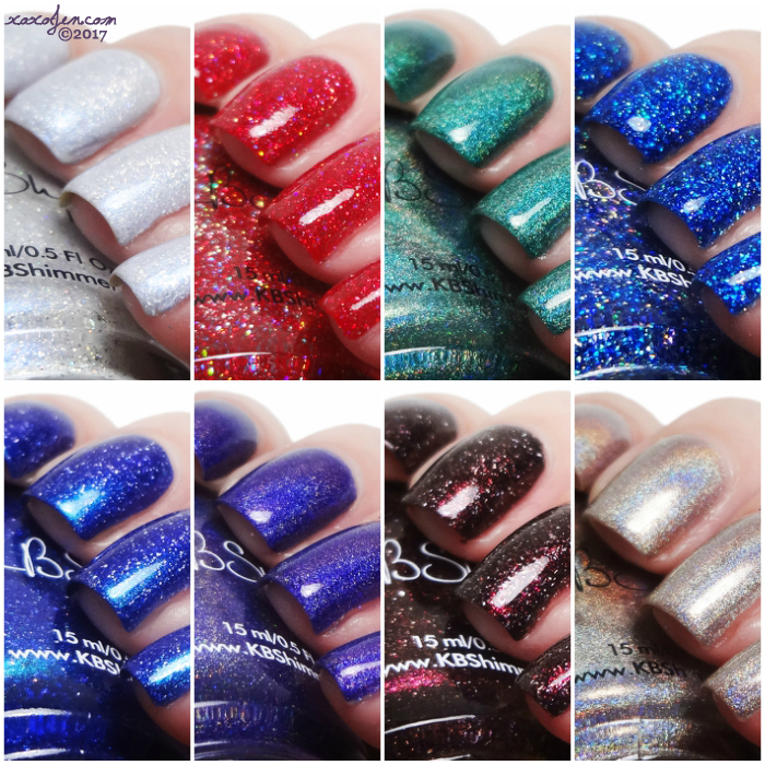 xoxoJen's swatches of KBShimmer Holo-day Collection 2017