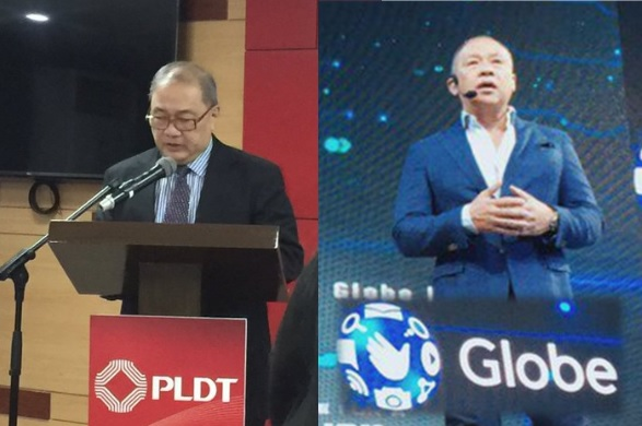 PLDT' Chairman Manny V. Pangilinan and Globe CEO Ernest Cu.