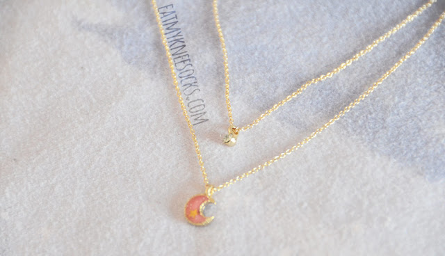 Details on the golden pink glittered crescent moon and rhinestone pendant layered necklace from Born Pretty Store.