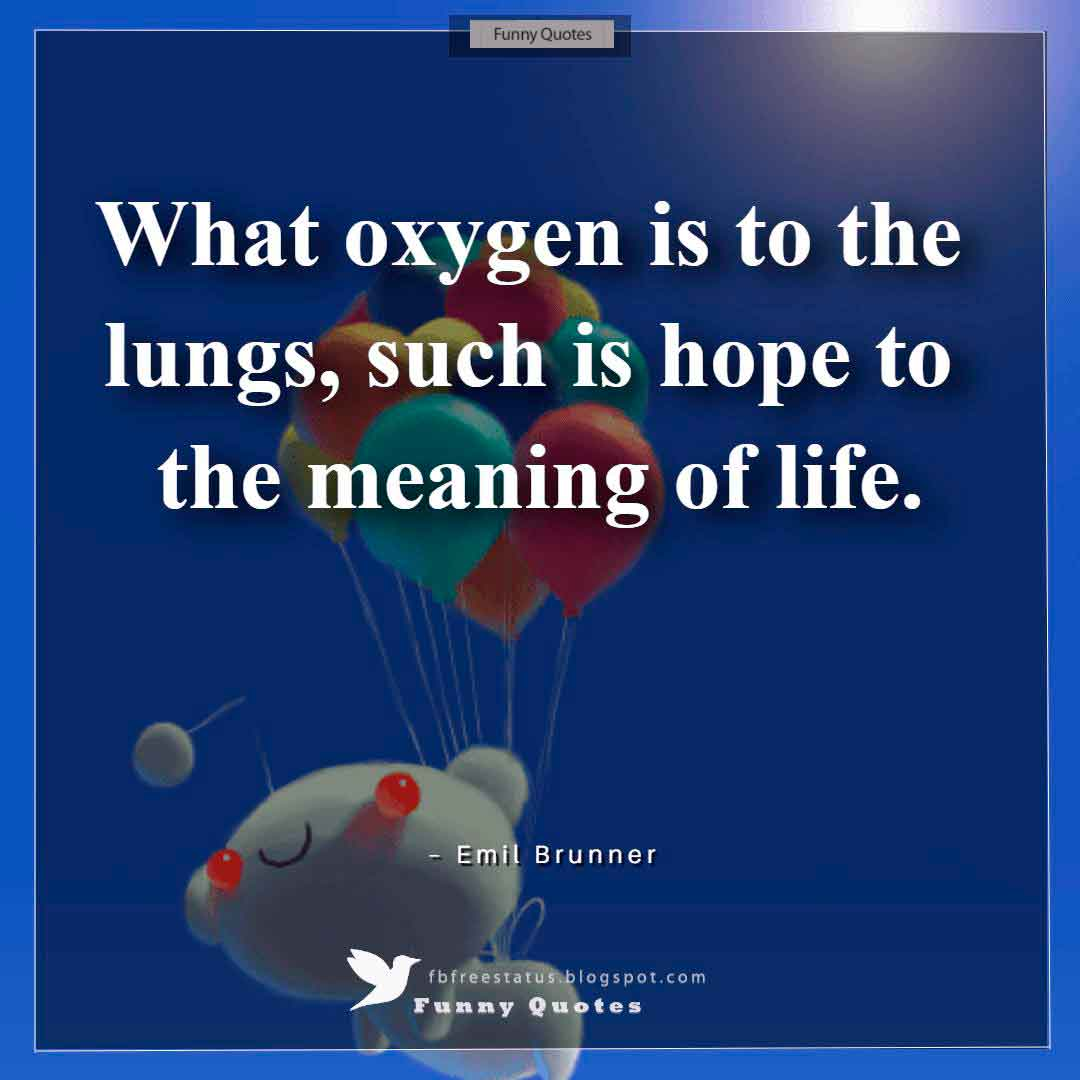 """What oxygen is to the lungs, such is hope to the meaning of life."" ~Emil Brunner"