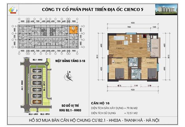 Sơ đồ thiết kế chi tiết căn hộ 16 chung cư B2.1 HH03 Thanh Hà