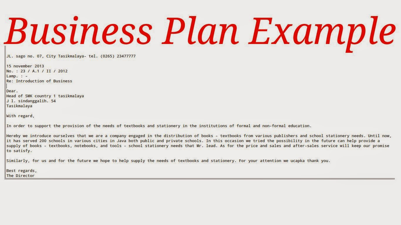 sample of a written business plan pdf