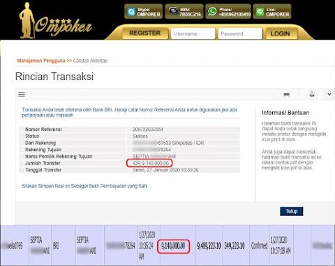 Selamat Kepada Member Setia Ompoker WD Rp 9.140.000