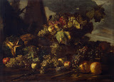 Still Life with Grapes (Oil on Canvas, The Hermitage, St. Petersburg, 1650s-1660s - Fruits Painting) by Pace Michele (Michele Pace del Campidoglio)