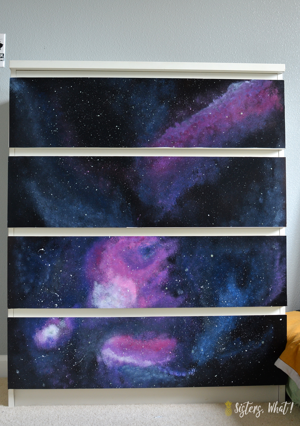 Ikea Malm Dresser Hack with contact paper and some paint to make a galaxy dresser for a space star wars room!