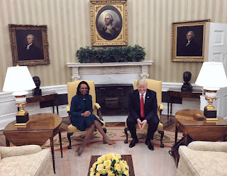 POTUS Donald J Trump with Mrs Rice in Whitehouse. PHOTO | AFP