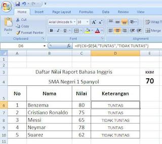 Rumus Excel Otomatis untuk Keterangan Tuntas dan Tidak Tuntas