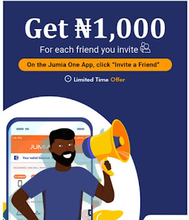 Jumia one promotion, get ₦1000 for each friend you invite