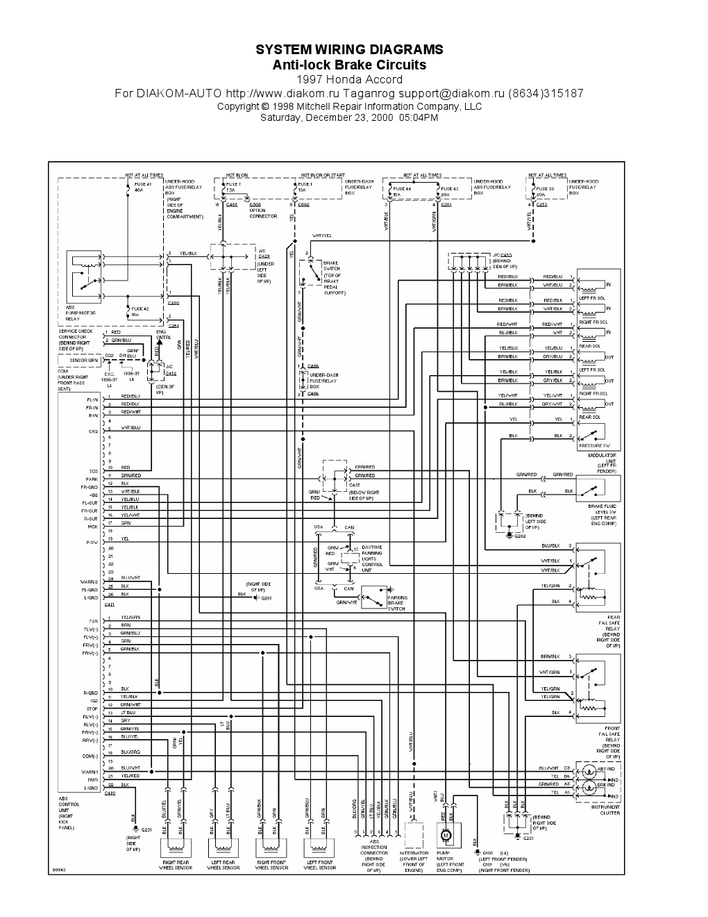 1997 honda accord anti lock brake abs circuit diagram