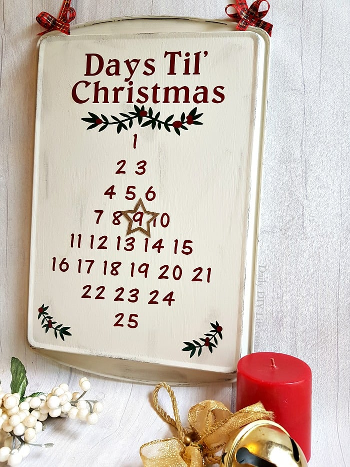 Christmas advent using cookie sheet