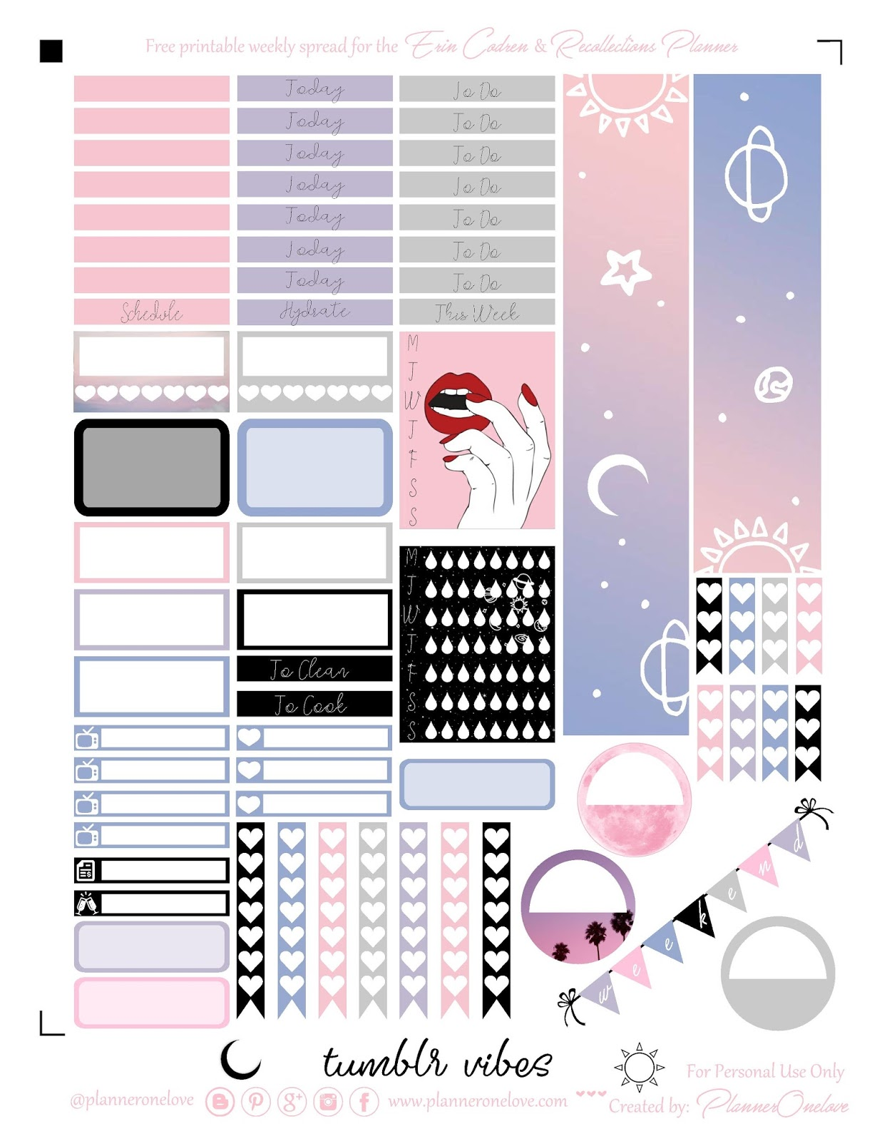 graphic relating to Tumblr Stickers Printable identified as absolutely free tumblr vibes printable planner stickers for the Erin