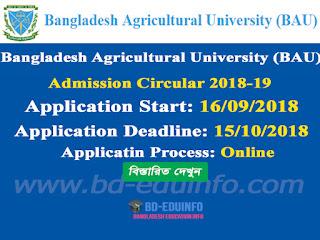 Bangladesh Agricultural University (BAU) Admission Test Circular 2018-2019