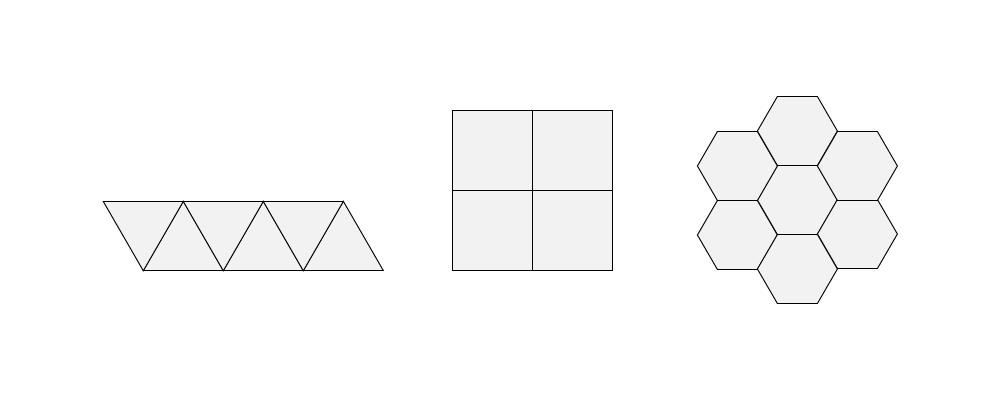 Kolmio, neliö ja kuusikulmio peittävät alueen täydellisesti.