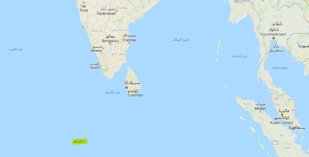 اين تقع جزر المالديف في الخريطة